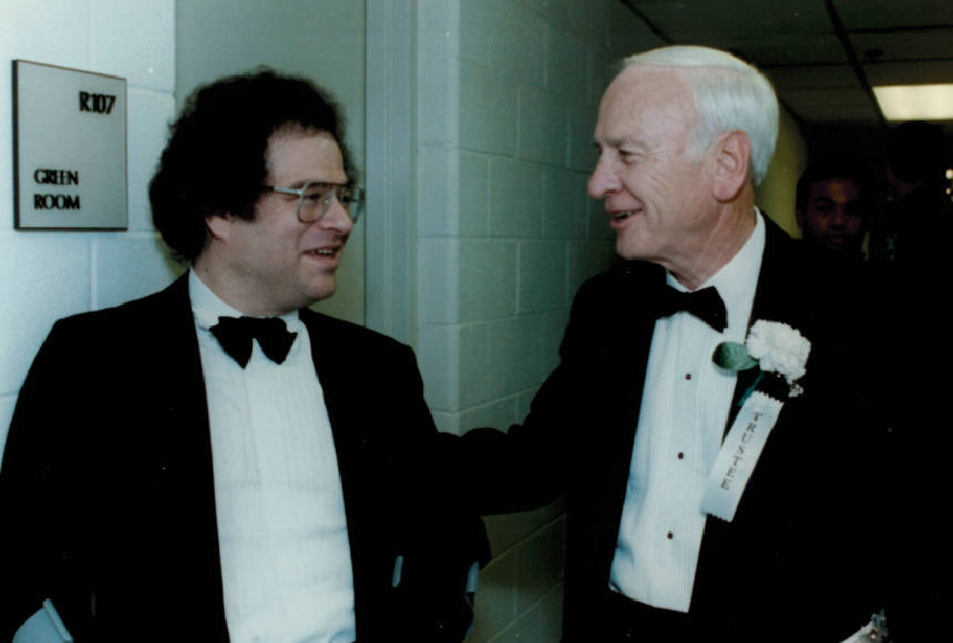 Itzhak Perlman, left and Harry Downson at the opening night.