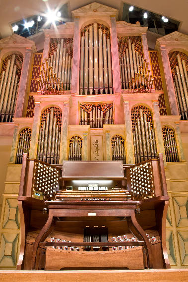 Front view of the Spivey Hall pipe organ.